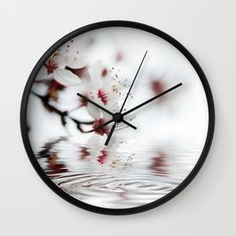 white cherry blossom and water reflection Wall Clock