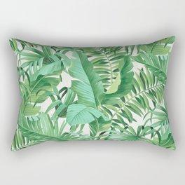 Green tropical leaves III Rectangular Pillow