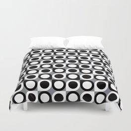 Geometric Pattern #193 (black gray circles) Duvet Cover