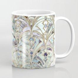 Pale Bright Mint and Sage Art Deco Marbling Coffee Mug