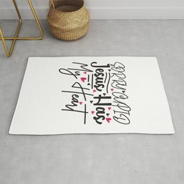 Sorry Cupid Jesus Has My Heart - Funny Love humor - Cute typography - Lovely and romantic quotes illustration Rug