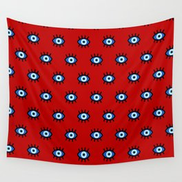 Evil Eye on Red Wall Tapestry