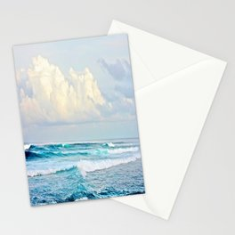 Blue Water Fluffy Clouds Stationery Cards