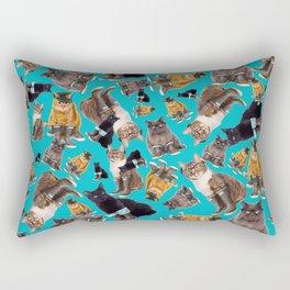 Tough Cats on Aqua Rectangular Pillow