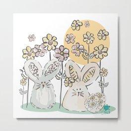 Pastel easter eggs and bunnys II Metal Print