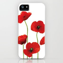 Poppies Field white background iPhone Case