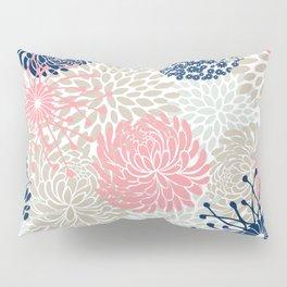 Floral Mixed Blooms, Blush Pink, Navy Blue, Gray, Beige Pillow Sham