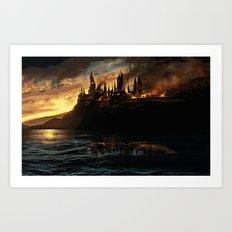 Harry Potter - Hogwart's Burning Art Print