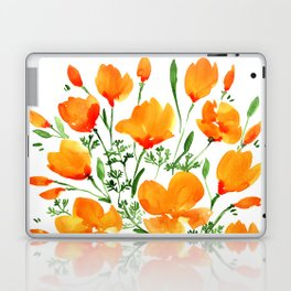 Watercolor California poppies Laptop & iPad Skin
