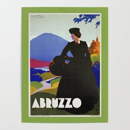 Abruzzo Italian travel Lady on a walk Poster