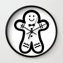 Gingerbread Man (black & white), simple, bold design Wall Clock