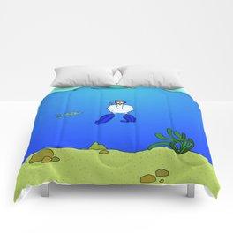 Eglantine la poule (the hen) is diving. Comforters