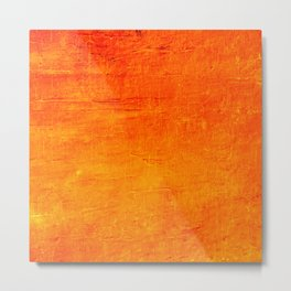 Orange Sunset Textured Acrylic Painting Metal Print