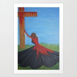His Daughter in the Red Dress- 1 John 1:7 Art Print
