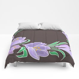 Abstract crocuses with grey background Comforters
