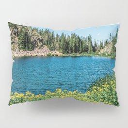 Yellow Flower Lake // Beautiful Daylight Evergreen Mountain Landscape Photograph Pillow Sham