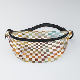 Chessboard Watercolor and gold Fanny Pack