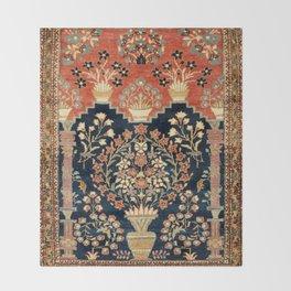 Kashan Poshti  Antique Central Persian Rug Print Throw Blanket