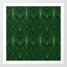 Art Deco in Gold & Green Art Print