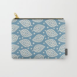 Mid Century Modern Falling Leaves Blue Beige Carry-All Pouch