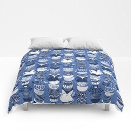 Swedish folk cats I // Indigo blue background Comforters
