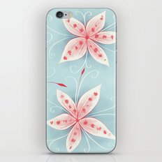 Beautiful Abstract Flowers In Red And White iPhone & iPod Skin