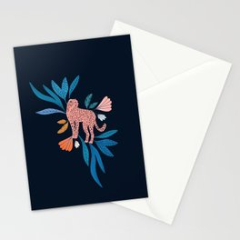 Cheetah and jungle florals on dark blue background  Stationery Cards