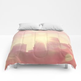 downtown Los Angeles skyline photograph. City of Lights Comforters