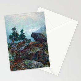 Weather chirping on cyclone rock landscape painting by Emilie Mediz-Pelikan Stationery Cards