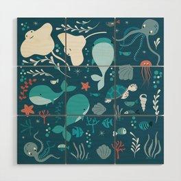 Sea creatures 004 Wood Wall Art