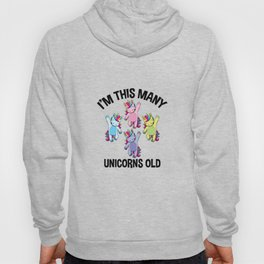 I'm This Many Unicorns Old Tee 4 Yr Fourth Birthday Unicorn Hoody