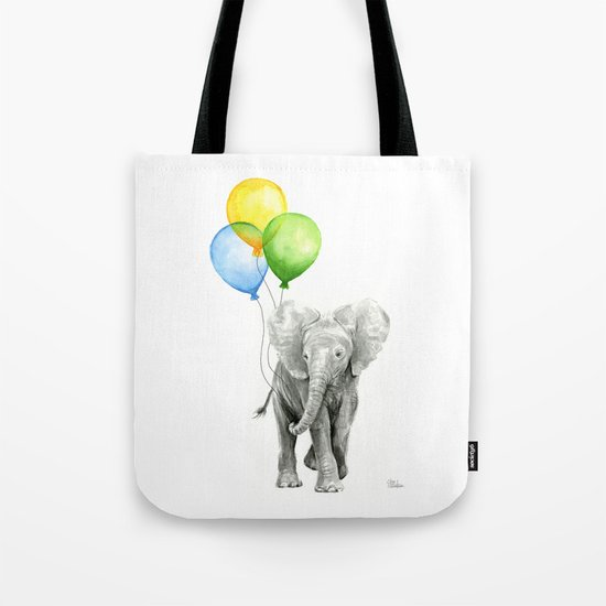 Elephant Watercolor Baby Animal with Balloons - Blue Yellow Green Tote Bag