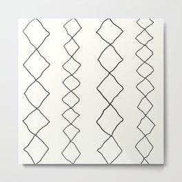 Moroccan Diamond Stripe in Black and White Metal Print