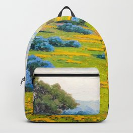 A Spring Morning, Poppies and California Bush Lupine by John Marshall Gamble Backpack