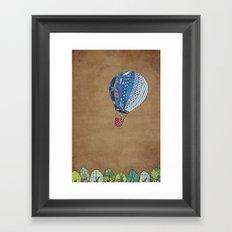 Blue hot air balloon Framed Art Print