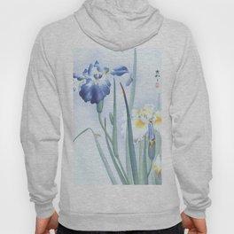 Bee And Blue Iris Flowers - Vintage Japanese Woodblock Print Art By Ohara koson Hoody