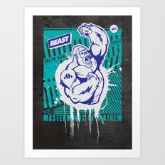 Mayhem Ape (Teal on Gun Metal) Art Print