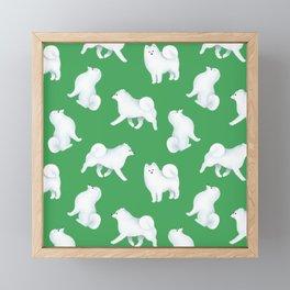 Samoyed Pattern (Green Background) Framed Mini Art Print