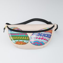Happy Easter with ornamental eggs Fanny Pack