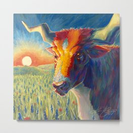 The Longhorn and the Sunset Metal Print