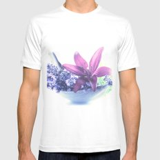 Summer flower pattern lilies and lavender White Mens Fitted Tee MEDIUM