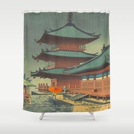 Asano Takeji-Rain In Kiyomizu Temple Vintage Japanese Woodblock Print Shower Curtain