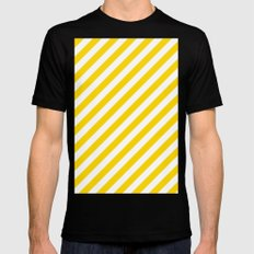 Diagonal Stripes (Gold/White) Black MEDIUM Mens Fitted Tee