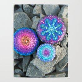 Blue and purple mandala stones Poster