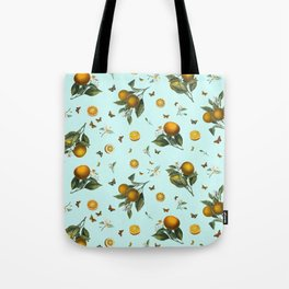 Oranges and Butterflies on Mint Tote Bag
