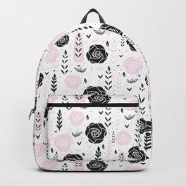 Floral Black Rose Vector Pattern Backpack
