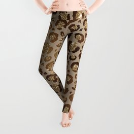 Brown & Gold Leopard Print Pattern Leggings