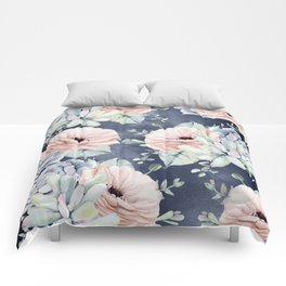 Night Succulents Navy Comforters