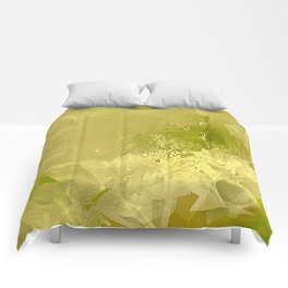 Cactus Orchid Light Green Cubist Comforters
