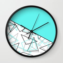 Abstract turquoise combo pattern . Wall Clock
